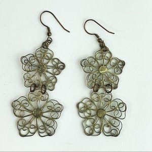 Vintage Metal Spiral Dangle Earrings